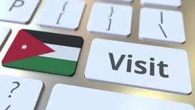 BESÖKtext och flagga av Jordanien på knapparna på datortangentbordet Begreppsm?ssig animering 3D arkivfilmer