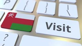 BESÖKtext och flagga av Oman på knapparna på datortangentbordet Begreppsm?ssig animering 3D arkivfilmer