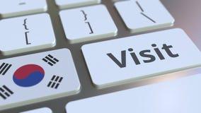 BESÖKtext och flagga av Sydkorea på knapparna på datortangentbordet Begreppsm?ssig animering 3D arkivfilmer