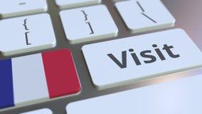BES?Ktext och flagga av Frankrike p? knapparna p? datortangentbordet Begreppsm?ssig animering 3D stock video