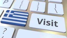 BES?Ktext och flagga av Grekland p? knapparna p? datortangentbordet Begreppsm?ssig animering 3D arkivfilmer