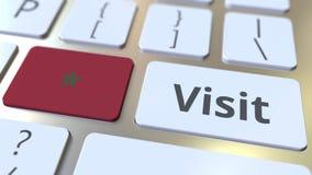 BES?Ktext och flagga av Marocko p? knapparna p? datortangentbordet Begreppsm?ssig animering 3D stock video