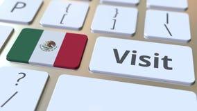 BES?Ktext och flagga av Mexico p? knapparna p? datortangentbordet Begreppsm?ssig animering 3D lager videofilmer