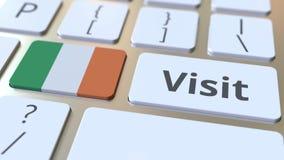 BES?Ktext och flagga av Republikenet Irland p? knapparna p? datortangentbordet Begreppsm?ssig animering 3D lager videofilmer