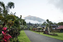 Besakih temple and mount agung in bali indonesia Stock Image