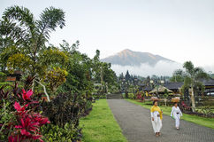 Besakih temple and mount agung view in bali indonesia Royalty Free Stock Image