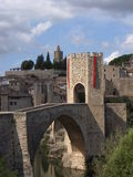 Besalú, Girona ( Spain ). The medievals bridge and village of Besalú in Girona, Spain Stock Photo
