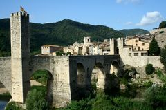 Besalu bridge. In east Spain Stock Photos