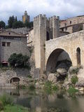 Besalu, Girona ( Spain ). The medievals bridge and village of Besalú in Girona, Spain Stock Photos