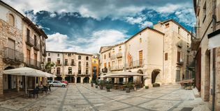 Besalu, Girona, Spain. Old Freedom Square Or Placa De La Llibertat In Sunny Summer Day. Panoramic View stock photography