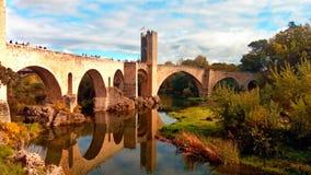 Besalu's bridge. Medieval bridge in the Fluvia river Stock Photos