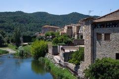 Besalu stad i Catalonia, Spanien Arkivbilder