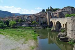 Besalu town view and  Pont Fortificat Stock Photo