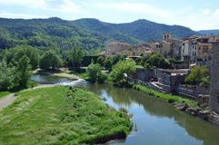 Besalu town view from Pont Fortificat Stock Images