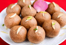 Besan laddoo. Gram flour, clarified butter and sugar truffles made during Indian festivals Stock Images