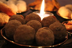 Besan Laddoo. Sweet item made out of gram flour prepared during Diwali, an Indian festival stock image