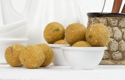 Besan Laddu. Special Traditional indian sweet food `Besan Laddu` made of gram flour, dry fruits, coconuts and other spices stock image