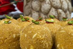 Besan Laddu. Special Traditional indian sweet food `Besan Laddu` made of gram flour, dry fruits, coconuts and other spices royalty free stock images