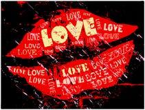 Besar los labios, amor stock de ilustración