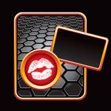 Besar los labios en bandera negra del hexágono Imágenes de archivo libres de regalías