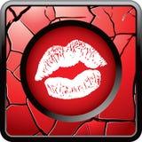 Besar los labios en el botón agrietado rojo del Web Foto de archivo