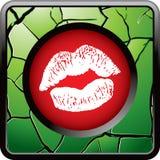 Besar los labios en el botón agrietado verde del Web Imagen de archivo libre de regalías