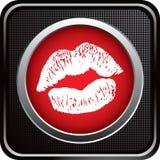Besar los labios en icono checkered negro del Web Fotografía de archivo