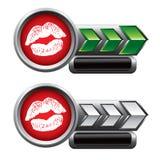Besar los labios en verde y placas de identificación de la flecha de la plata Fotografía de archivo libre de regalías