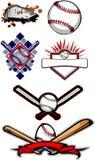 Beísbol con pelota blanda llameante y palos del béisbol Fotos de archivo libres de regalías