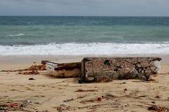 Beschädigt durch Hurrikan Odile-Marinesoldaten von Cabo San Stockfoto