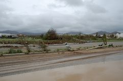 Beschädigt durch Hurrikan Odile-Straße in Cabo San Lucas Lizenzfreies Stockfoto