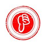 Beschädigt ringsum roten Stempel mit Vektor des Daumens unten - stockfoto