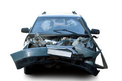 Beschädigtes Fahrzeug nach Autounfall Stockfotografie