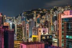 Beschäftigte Hong Kong-Skyline-, Wohn- und Handelsgebäude lizenzfreie stockfotos