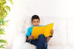 Beschäftigte Leseintelligenter Junge Stockfoto