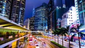 Beschäftigte Stadt-Nacht Timelapse. Zentral. Hong Kong. stock video footage