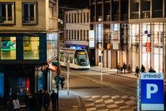 Beschäftigte Stadt von Straßburg während des Weihnachten Lizenzfreies Stockfoto