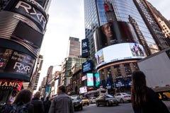 Beschäftigte Times Square-Gebäude in New York City, twillight Lizenzfreie Stockfotos