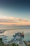 Beschäftigter Hafen von Salerno, Italien Stockbilder