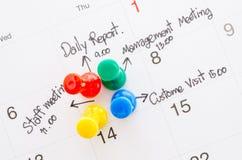 Beschäftigter Tagesüberarbeiteter Zeitplan Stockfoto