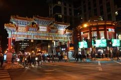 Beschäftigtes Chinatown nachts im Washington DC Stockfotografie