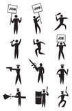 Beschäftigungs-Protest-Ikonen-Satz Lizenzfreies Stockfoto