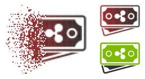 Beschadigd de Bankbiljettenpictogram van de Pixel Halftone Rimpeling vector illustratie