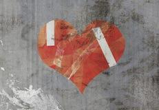 Beschadigd hart op oud document stock illustratie