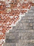 Beschadigde bakstenen muur Stock Foto