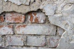 Beschadigde Oude Muur met Bakstenen Royalty-vrije Stock Afbeeldingen