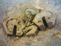 Beschadigde Oude Saldomaatregelen Stock Foto