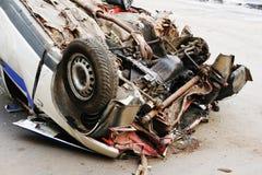 Beschadigde politiewagen Royalty-vrije Stock Foto's
