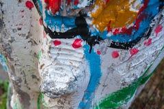 Beschaffenheit der Ölfarbe auf einem Baum, Hintergrund Stockbild