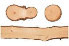 Beschaffenheit der hölzernen Nahaufnahme lokalisiert auf weißem Hintergrund Stockbild